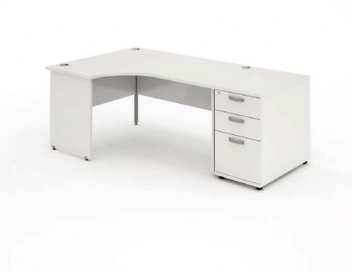 Panelled End Leg|Radial/Crescent Desk|1800mm|800mm Pedestal. Available in Various Top Colours